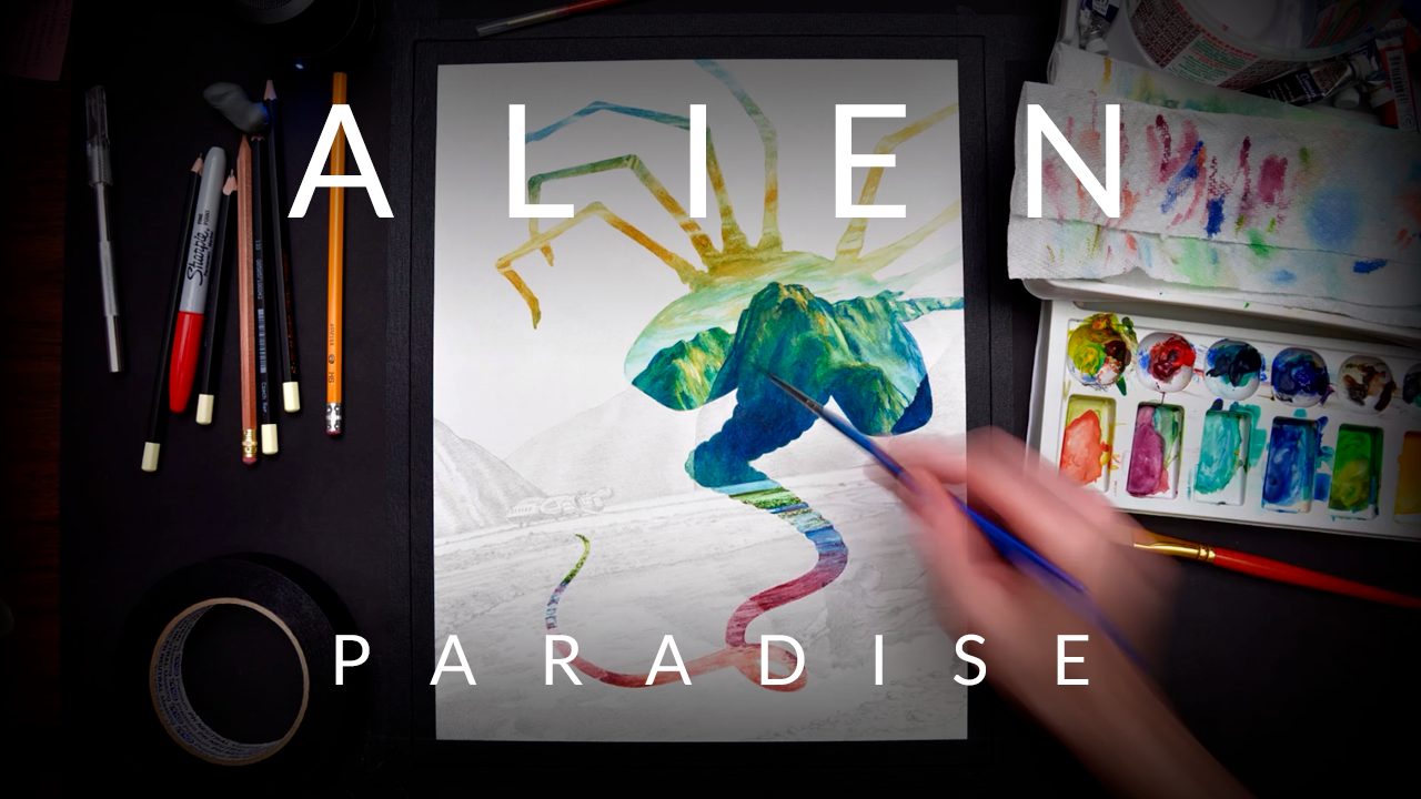 Alien Paradise – Watercolor Painting Timelapse