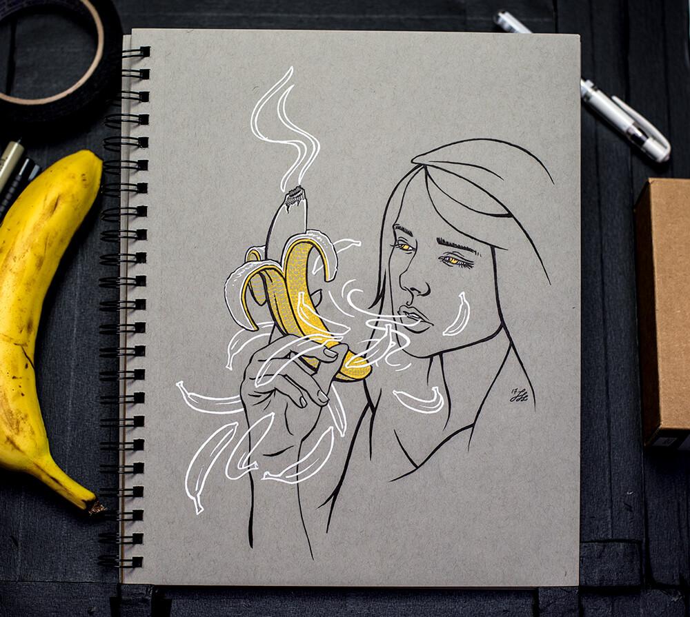 Banana Buzz Ink Drawing detail