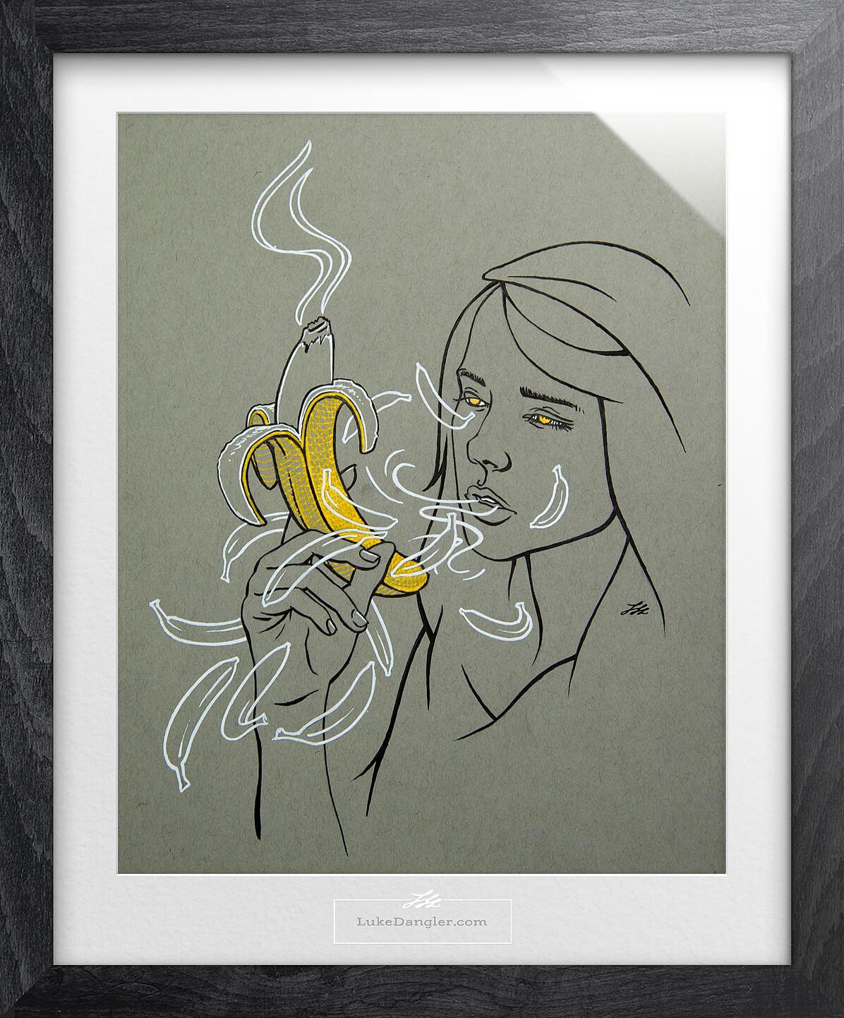 Banana Buzz Ink Drawing