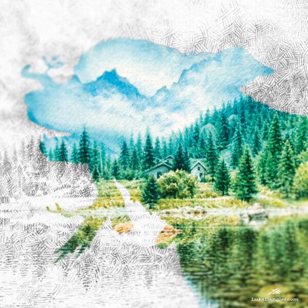 Lake Dog Painting detail