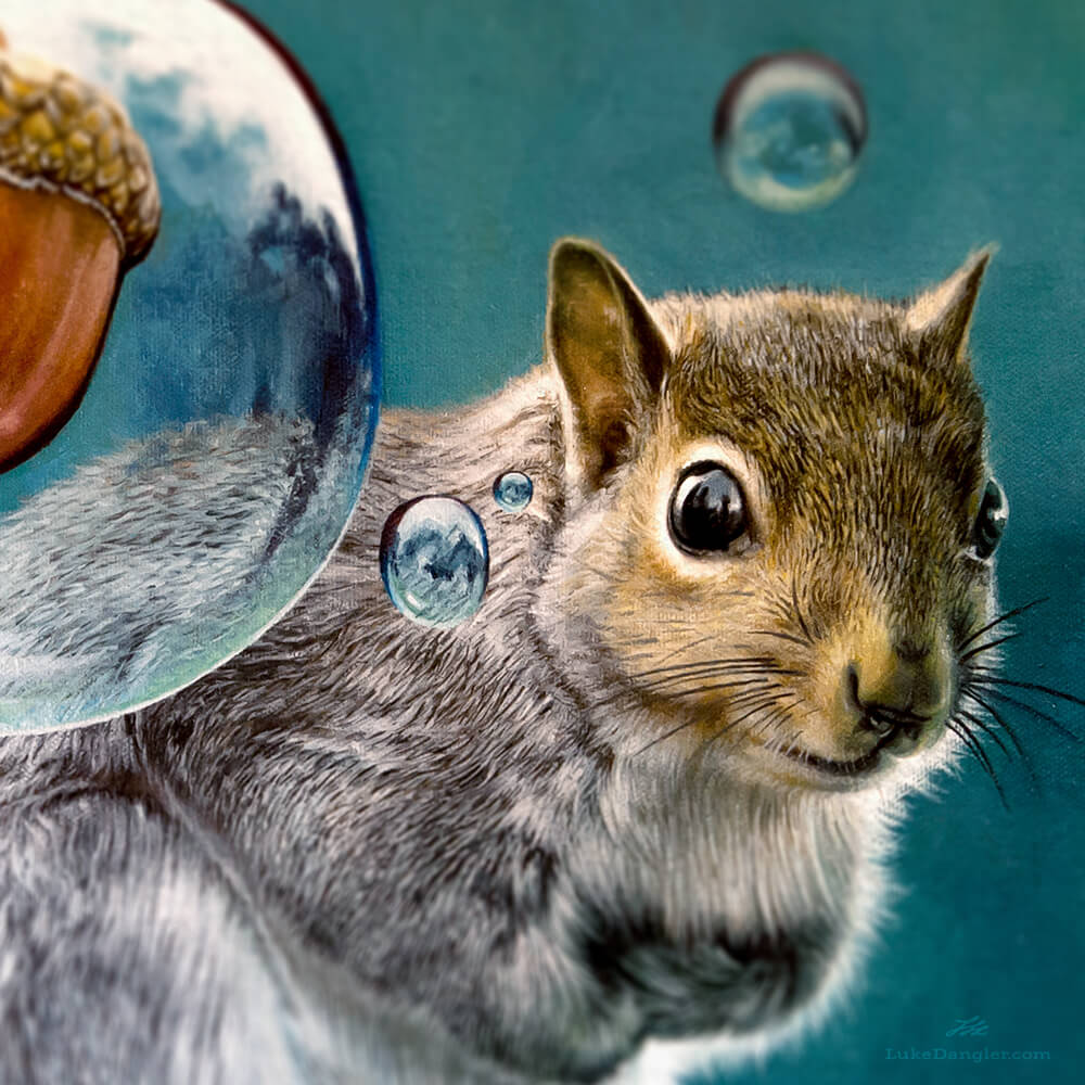 Squirrel Power Painting detail