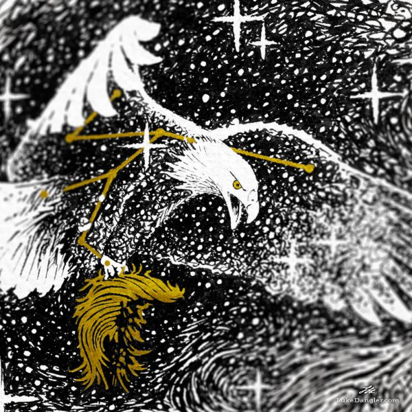 American Eagle Ink Drawing detail